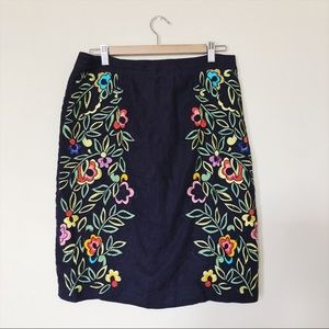Anthropologie Embroidered Pencil Skirt